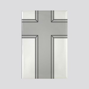 Silver Cross Rectangle Magnet