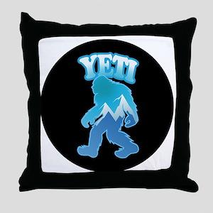 Yeti Mountain Scene Throw Pillow