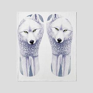 White Wolf Throw Blanket