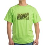 Tabby Cat Green T-Shirt