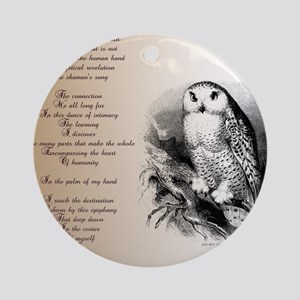 Owl with poem Round Ornament