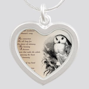 Owl with poem Silver Heart Necklace