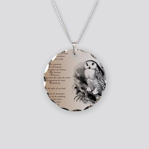 Owl with poem Necklace Circle Charm