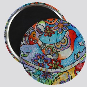 Whimsical Indian Summer Bird Floral Mexican Magnet