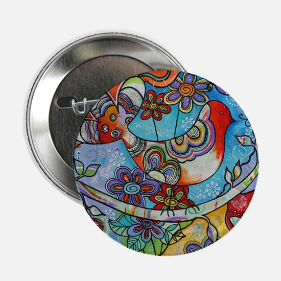 "Whimsical Indian Summer Bird Floral M 2.25"" Button"