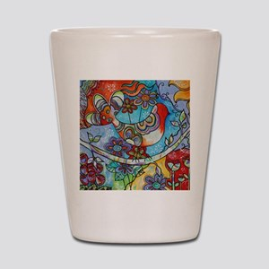 Whimsical Indian Summer Bird Floral Mex Shot Glass