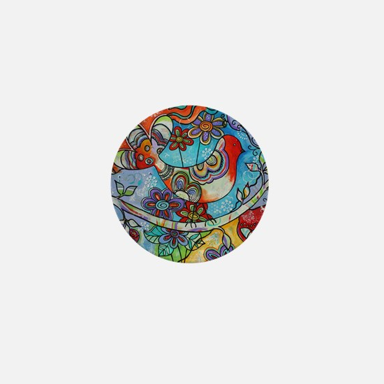 Whimsical Indian Summer Bird Floral Me Mini Button