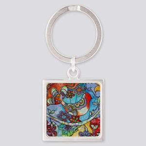 Whimsical Indian Summer Bird Flora Square Keychain