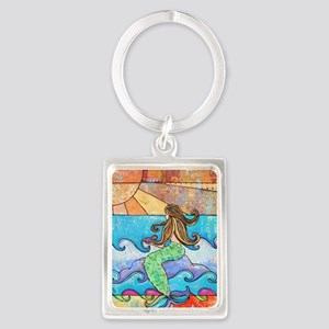 Colorful Mermaid at Sunset Beach Portrait Keychain