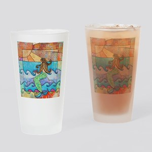 Colorful Mermaid at Sunset Beach Drinking Glass