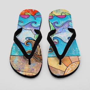 Colorful Mermaid at Sunset Beach Flip Flops