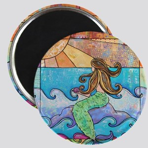 Colorful Mermaid at Sunset Beach Magnet