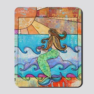 Colorful Mermaid at Sunset Beach Mousepad