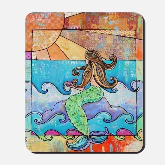 Colorful Mermaid at Sunset Beach Mousepad