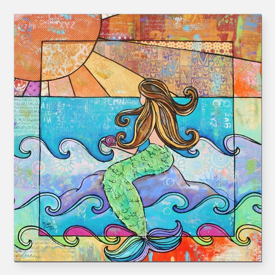 "Colorful Mermaid at Suns Square Car Magnet 3"" x 3"""
