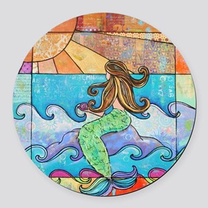 Colorful Mermaid at Sunset Beach Round Car Magnet