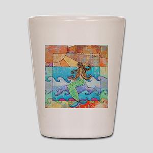 Colorful Mermaid at Sunset Beach Shot Glass