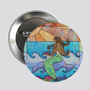 """Colorful Mermaid at Sunset Beach 2.25"""" Button"""