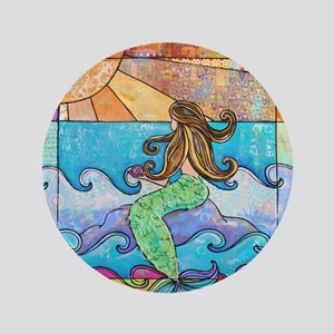 """Colorful Mermaid at Sunset Beach 3.5"""" Button"""