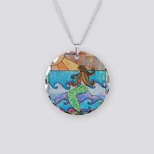 Colorful Mermaid at Sunset B Necklace Circle Charm