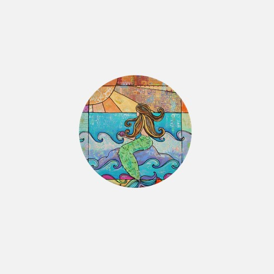 Colorful Mermaid at Sunset Beach Mini Button