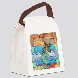 Colorful Mermaid at Sunset Beach Canvas Lunch Bag