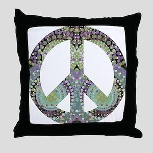 Groovy Summer Peace Throw Pillow
