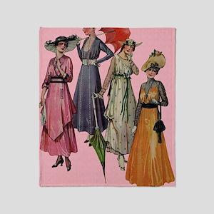 Women's Fashions 1915 Throw Blanket