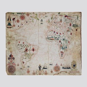 17th Century nautical map of the Atl Throw Blanket