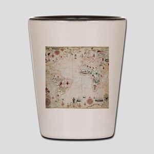 17th Century nautical map of the Atlant Shot Glass