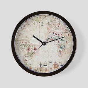 17th Century nautical map of the Atlant Wall Clock