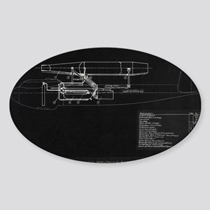 German WWII ramjet bomber blueprint Sticker (Oval)