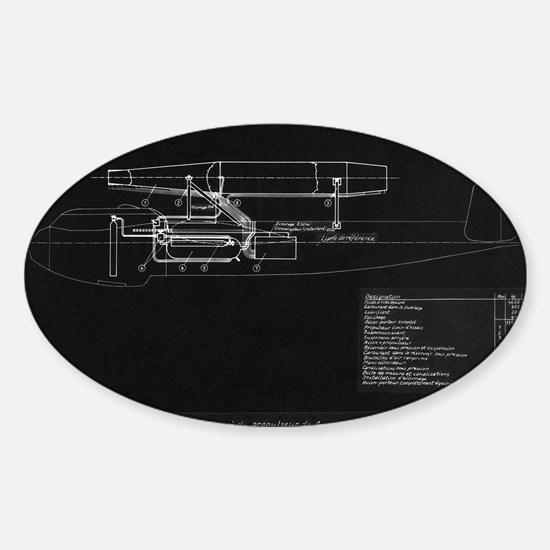 German WWII ramjet bomber blueprint Sticker (Oval)
