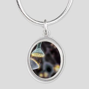 Nerve synapse, artwork Silver Oval Necklace