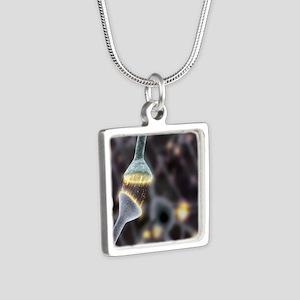 Nerve synapse, artwork Silver Square Necklace