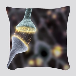 Nerve synapse, artwork Woven Throw Pillow