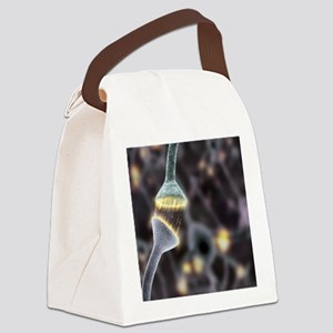 Nerve synapse, artwork Canvas Lunch Bag