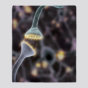 Nerve synapse, artwork Throw Blanket