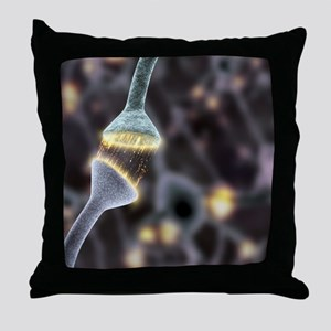Nerve synapse, artwork Throw Pillow