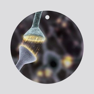 Nerve synapse, artwork Round Ornament