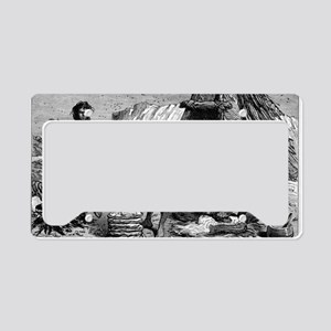 Early humans preparing food,  License Plate Holder