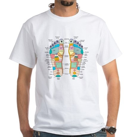 Reflexology foot map, artwork White T-Shirt