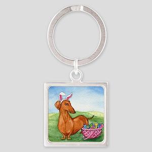 Easter Weiner Dog Square Keychain