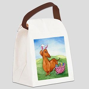 Easter Weiner Dog Canvas Lunch Bag
