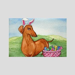 Easter Weiner Dog Rectangle Magnet