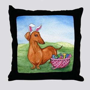 Easter Weiner Dog Throw Pillow