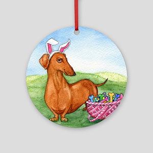 Easter Weiner Dog Round Ornament