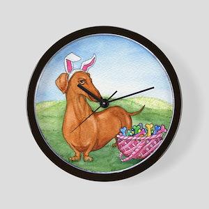 Easter Weiner Dog Wall Clock