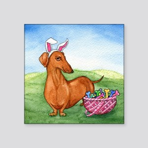 "Easter Weiner Dog Square Sticker 3"" x 3"""