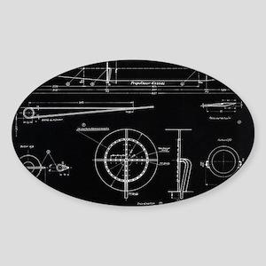 German WWII ramjet engine blueprint Sticker (Oval)